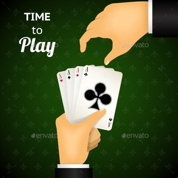Cartooned Hand Holding Four Aces Cards