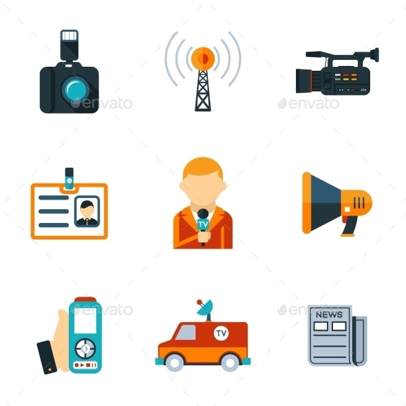 Assorted Journalism Flat Icons - Media Technology