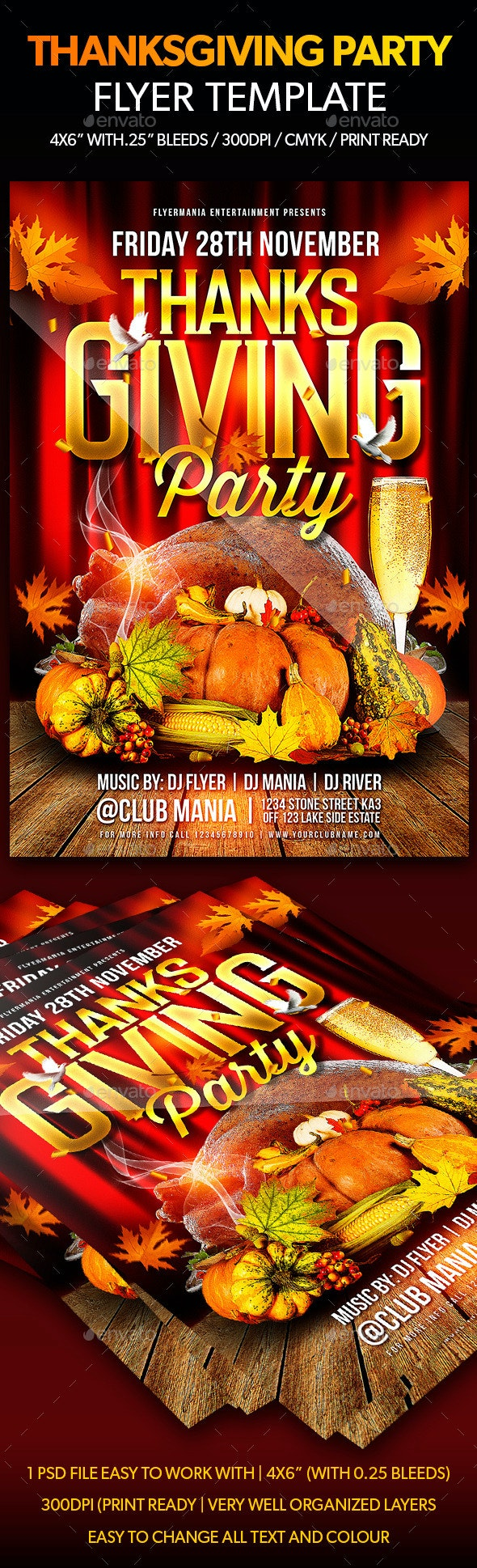 Thanksgiving Party Flyer Template - Flyers Print Templates