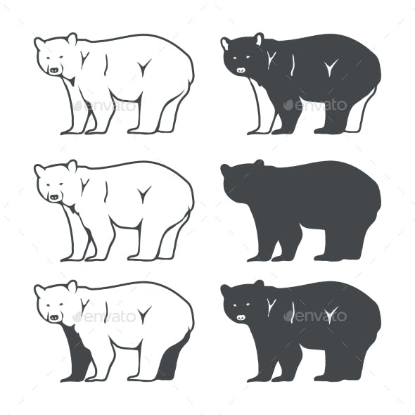 Set of Six Bear Silhouette
