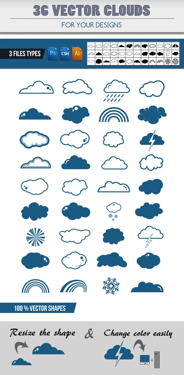 36 Clouds Shapes Add-ons - Miscellaneous Shapes