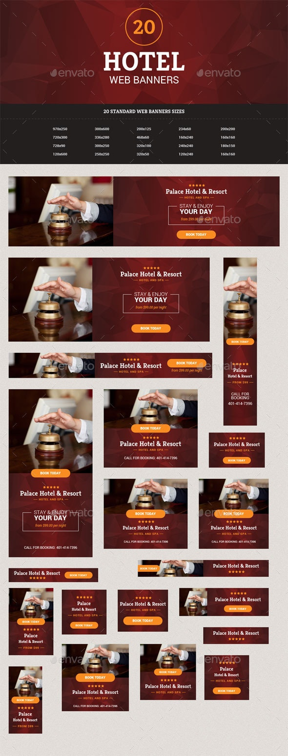 Hotel Web Banners Pack #1 - Banners & Ads Web Elements