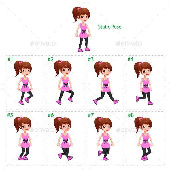 Animation of Girl Walking - People Characters