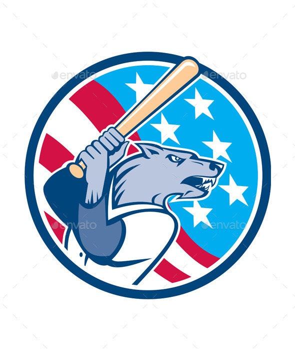 Wolf Baseball with Bat USA Stars Circle - Animals Characters