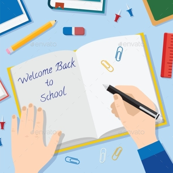 Back to School Flat Style Vector Background - Objects Vectors