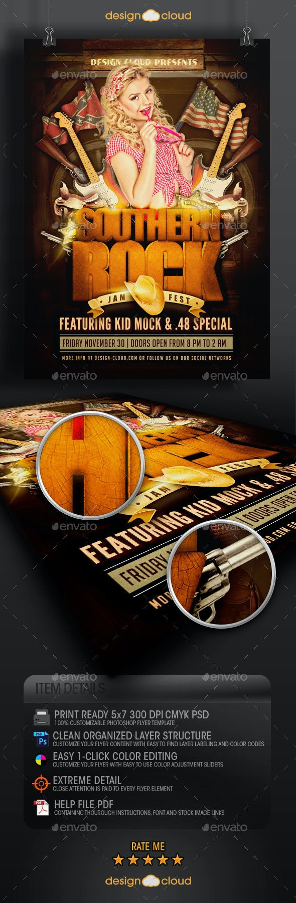 Southern Rock Festival Poster Flyer Template - Concerts Events