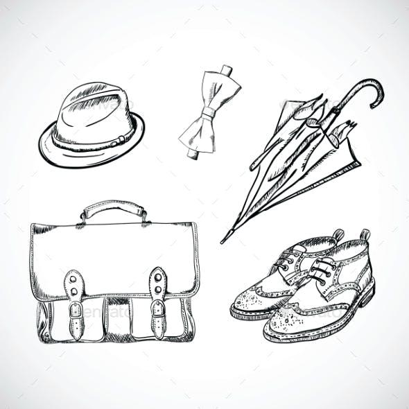 Gentleman Sketch Handdrawn Set