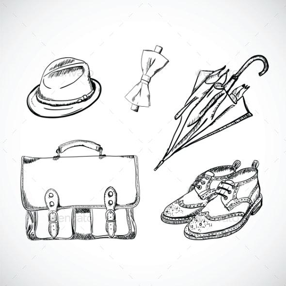 Gentleman Sketch Handdrawn Set - Decorative Vectors