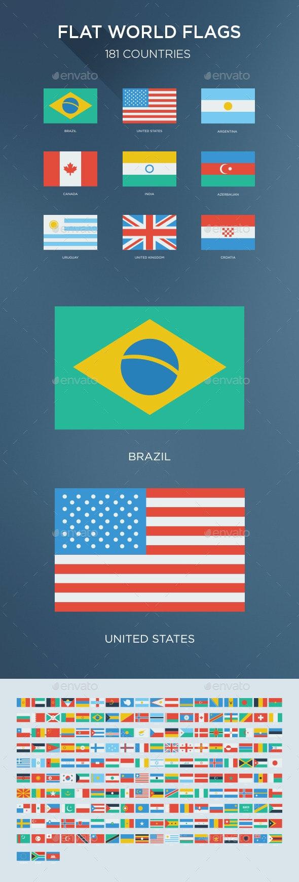 181 Flat World Flags - Vectors