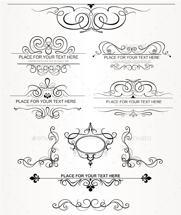 Calligraphic Design Elements - Flourishes / Swirls Decorative