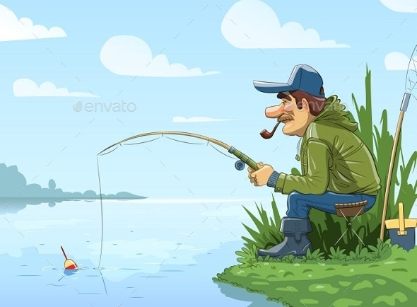 Fisherman with Rod Fishing on River - People Characters