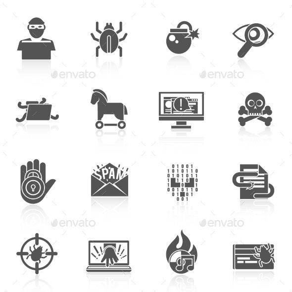 Hacker Icons Black Set - Web Technology