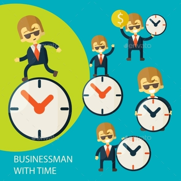Set of Businessmen and Clock - Concepts Business