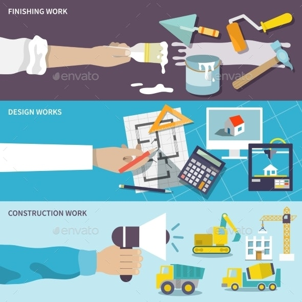 Design and Construction Work Flat Banner Set - Industries Business