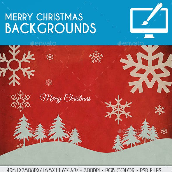 Vintage Merry Christmas Background PSD