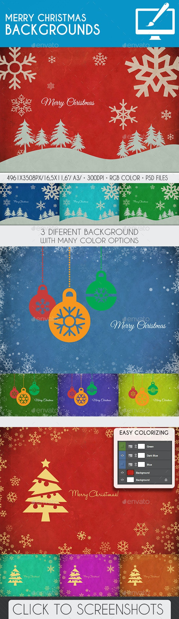Vintage Merry Christmas Background PSD - Backgrounds Graphics