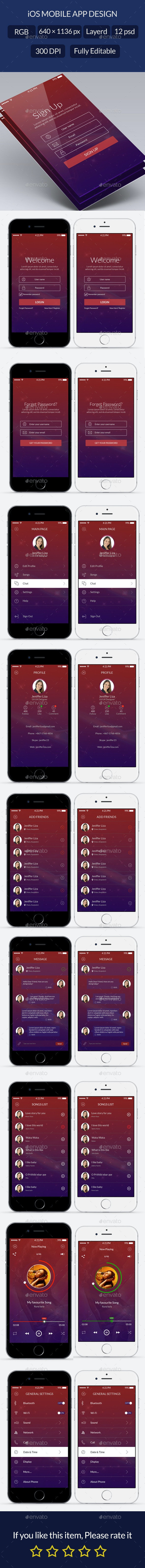 Flat App UI Design Kit - User Interfaces Web Elements