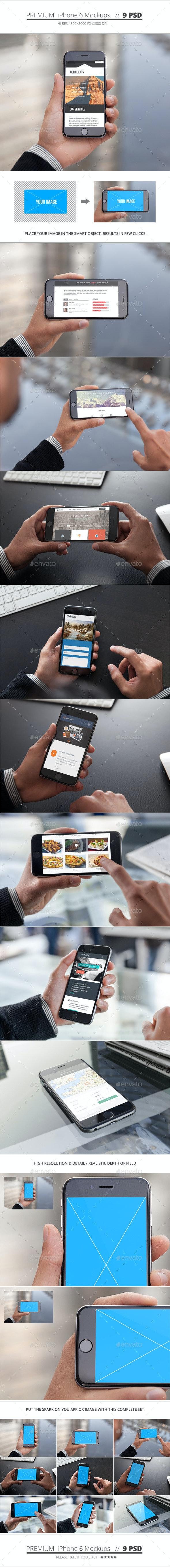 Phone 6 Mockups - 9 Pack - Mobile Displays