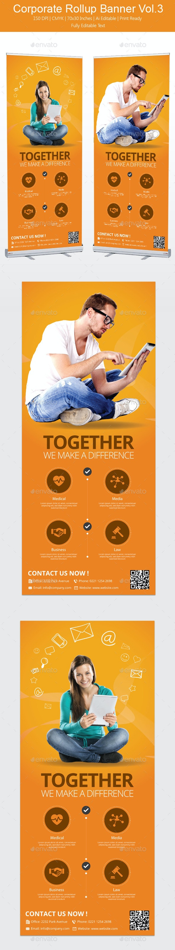 Corporate Rollup Banner Vol3 - Print Templates