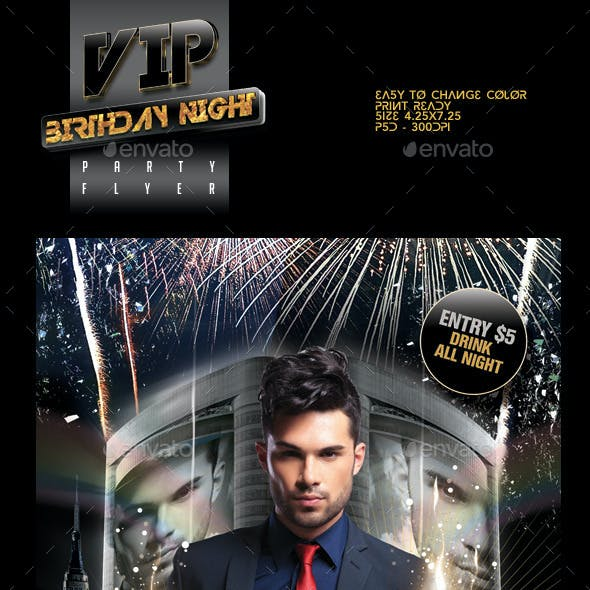 VIP Birthday Party Flyer Template