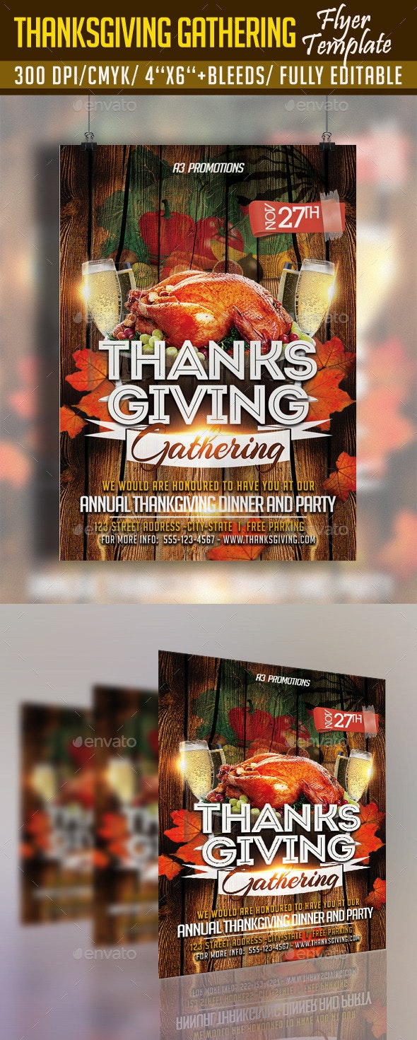 Thanksgiving Gathering Flyer Template - Clubs & Parties Events