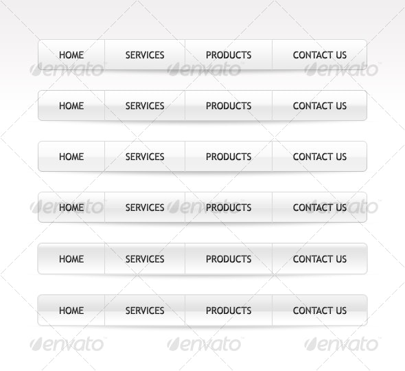 6 Different Clean White Menü Style Packet  - Navigation Bars Web Elements