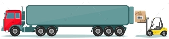 Truck and Loader with Box - Web Elements Vectors