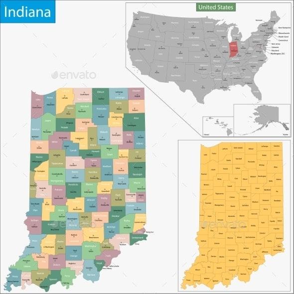 Indiana Map - Travel Conceptual
