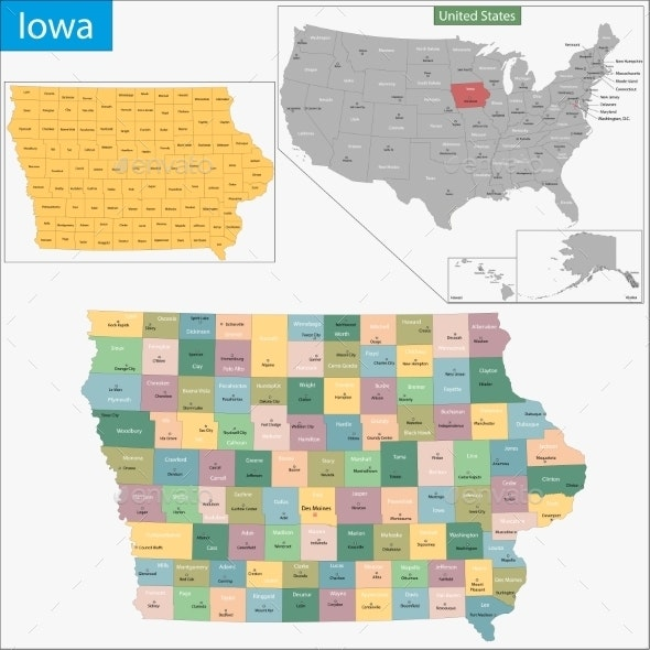 Iowa Map - Travel Conceptual