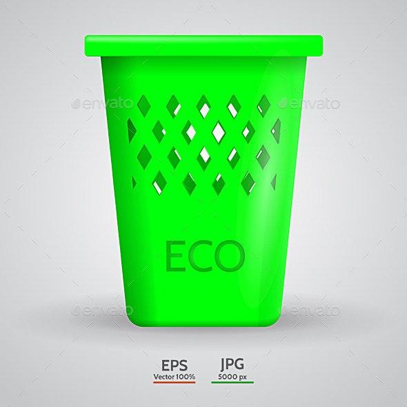 Vector Illustration of Green Eco Dustbin - Conceptual Vectors