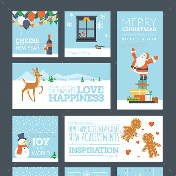 Christmas and New Year Greeting Cards and Tags