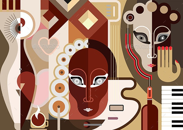 Abstract Music Illustration - People Characters