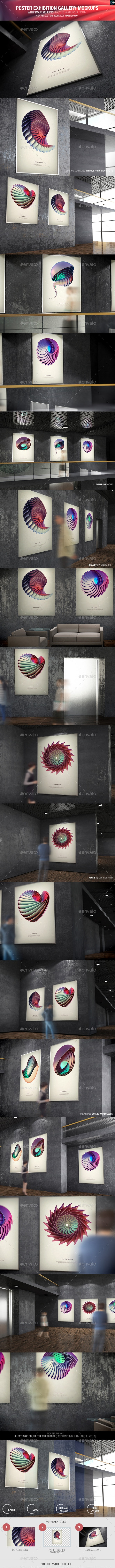 Poster Exhibition Gallery Mockups - Posters Print
