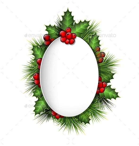 Frame with Holly and Pine - Christmas Seasons/Holidays