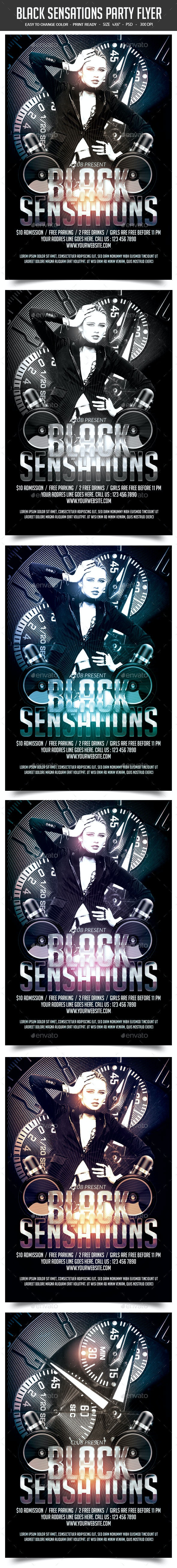 Black Sensations Party Flyer - Clubs & Parties Events