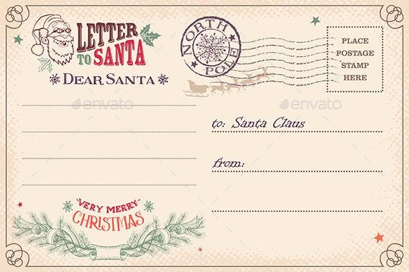 Vintage Letter to Santa Claus Postcard - Christmas Seasons/Holidays