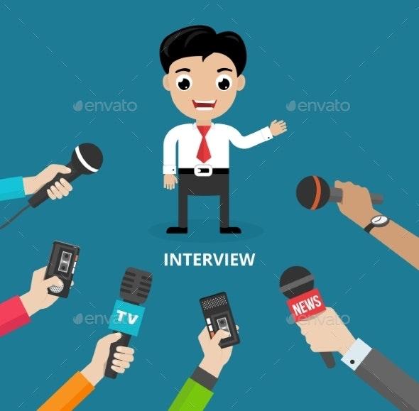 Media Conducting a Press Interview - Miscellaneous Vectors