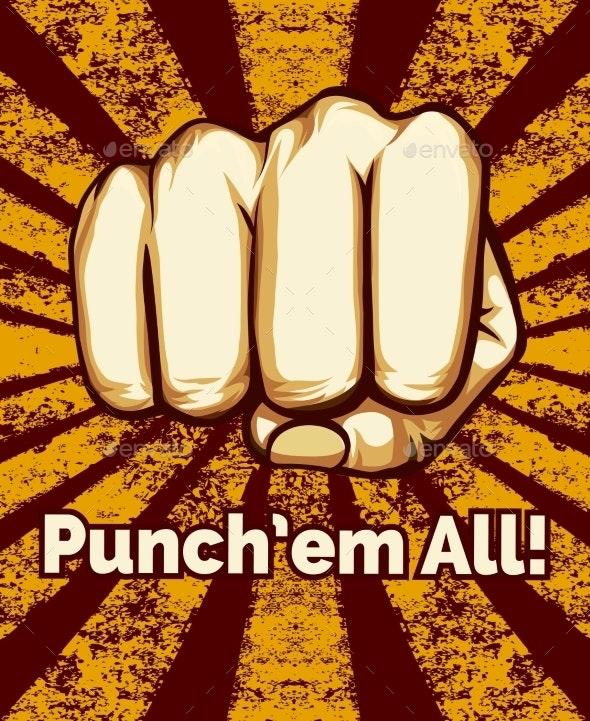 Retro Punching Fist Poster - Miscellaneous Vectors
