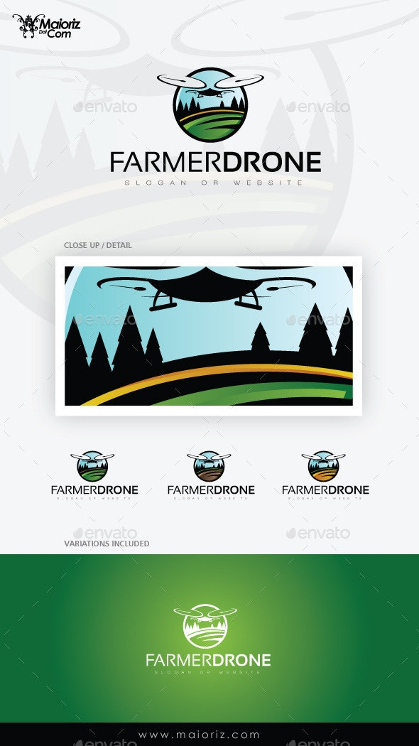 Farmer Drone Logo Template - Objects Logo Templates