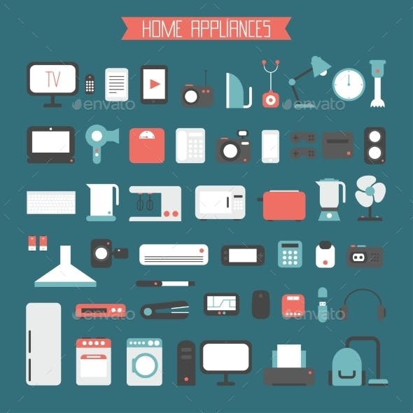Set of Electronic Devices and Home Appliances