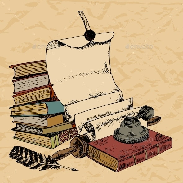 Paper Scroll Feather and Books - Miscellaneous Vectors