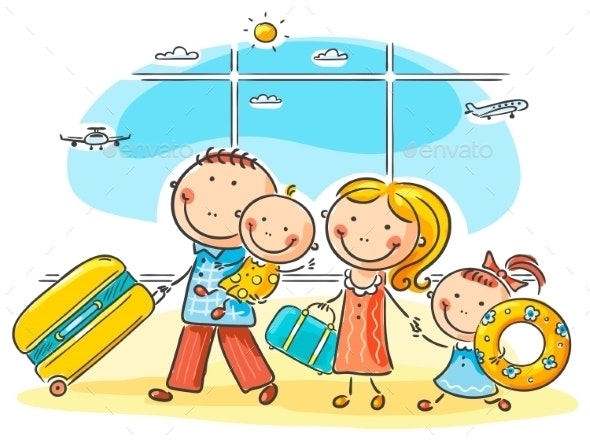 Family in the Airport - Travel Conceptual