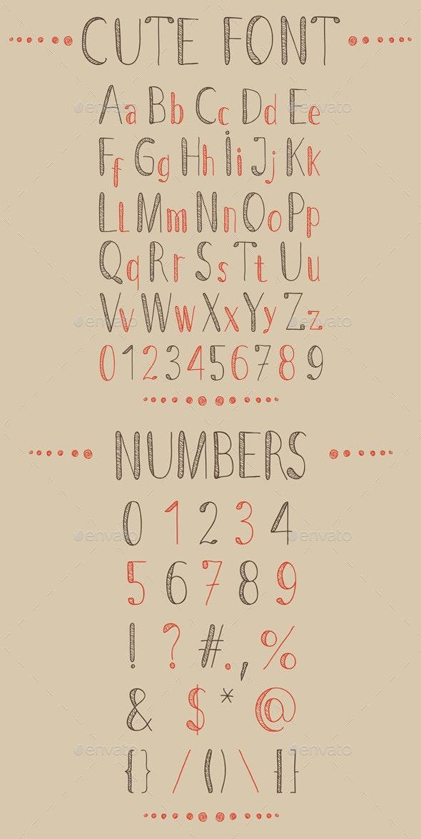 Hand Drawn Font and Numbers - Decorative Symbols Decorative