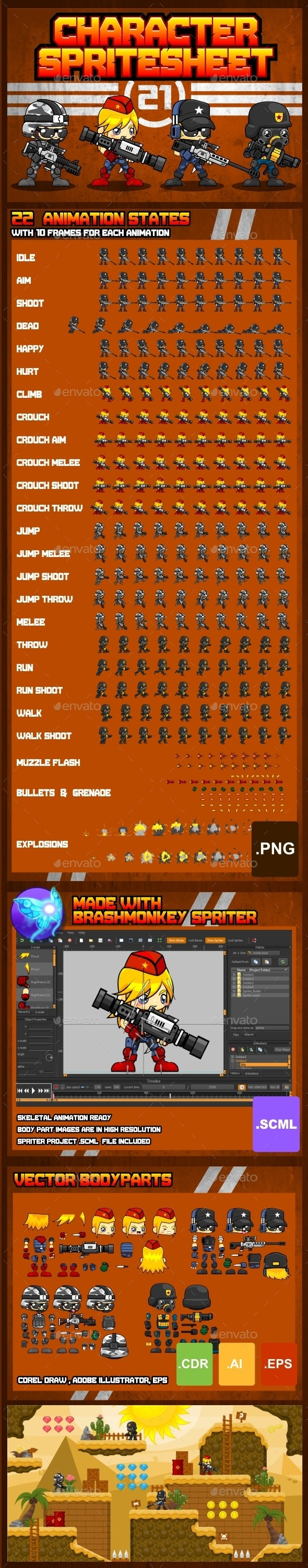 Characters Spritesheet 21 - Sprites Game Assets