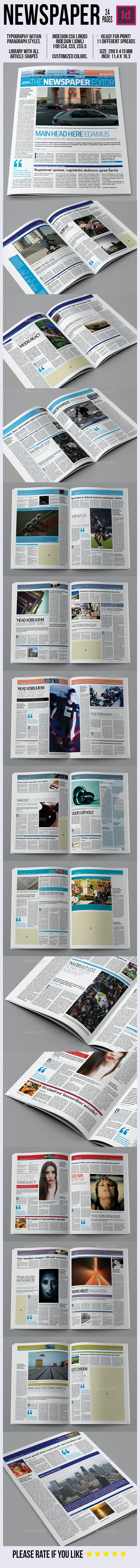 Newspaper 24 Pages - Newsletters Print Templates