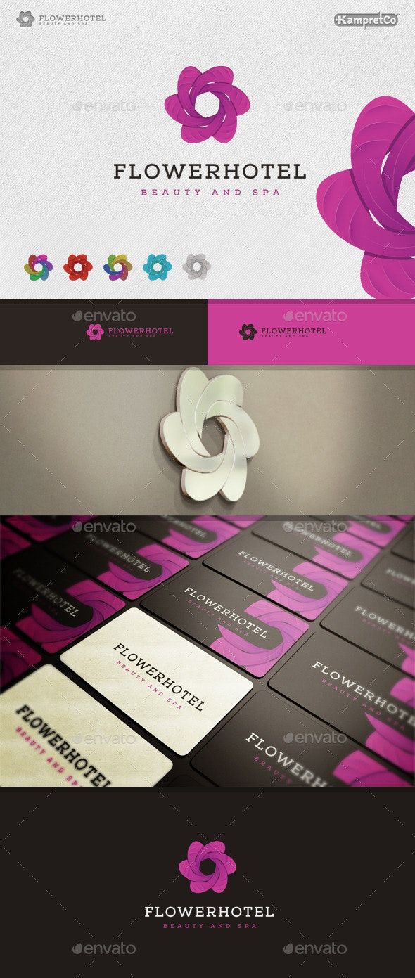 Flower Hotel Logo - 3d Abstract