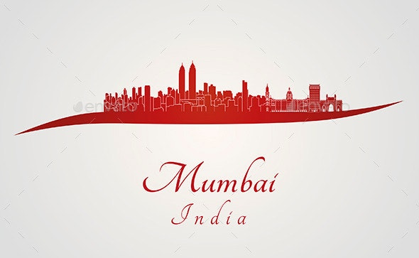 Mumbai Skyline in Red - Buildings Objects