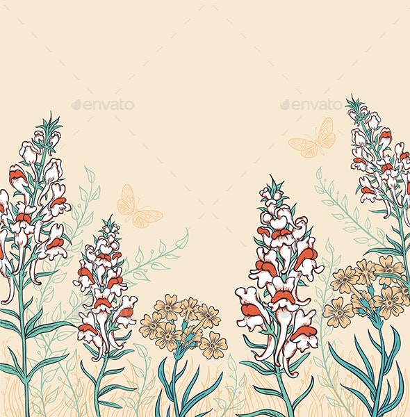 Background with Wildflowers and Butterflies - Flowers & Plants Nature