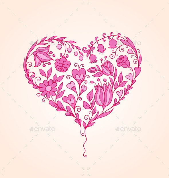 Hand Drawn Floral Heart - Valentines Seasons/Holidays