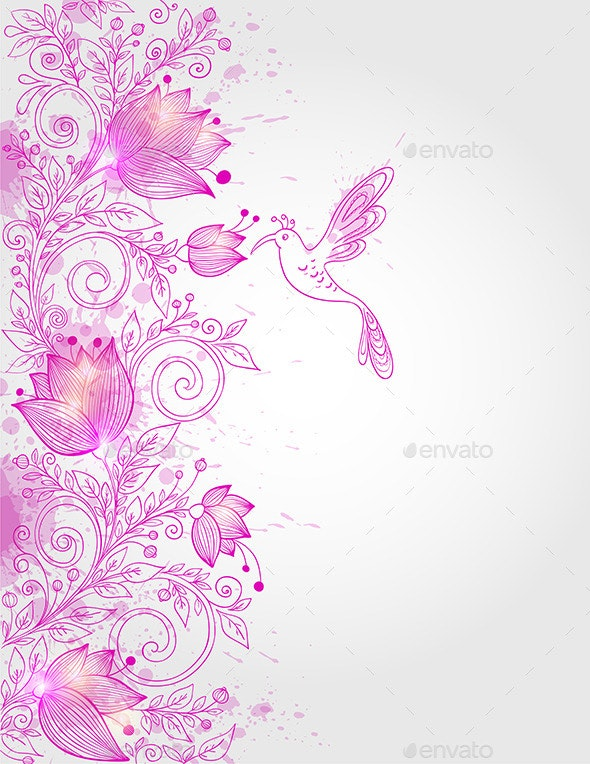 Hand Drawn Pink Floral Background - Flowers & Plants Nature